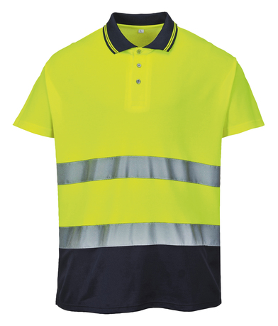 Hi-vis Two-tone Cotton Comfort Polo Shirt (S174) In Yellow/Navy