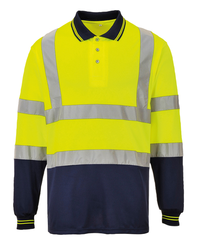 Hi-vis Two-tone Long Sleeve Polo Shirt (S279) In Yellow/Navy