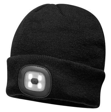 Beanie LED Headlight USB Rechargeable (B029) In Black