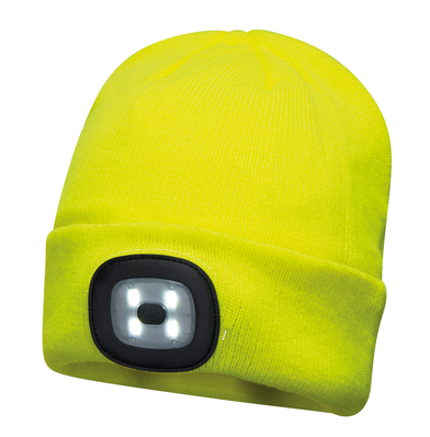 Beanie LED Headlight USB Rechargeable (B029) In Yellow
