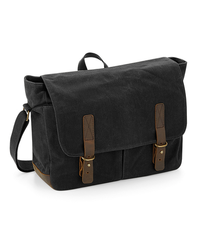 Heritage Waxed Canvas Messenger In Black