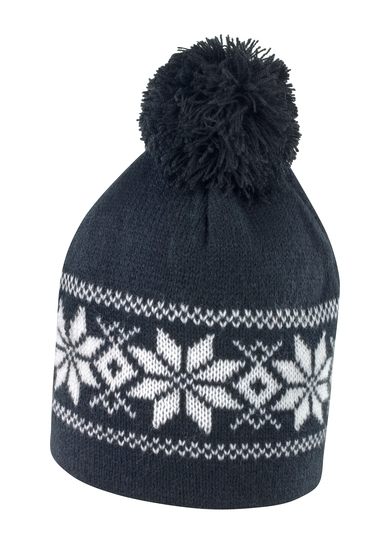 Fair Isle Knitted Hat In Black/White