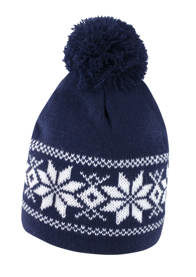 Fair Isle Knitted Hat In Navy/White