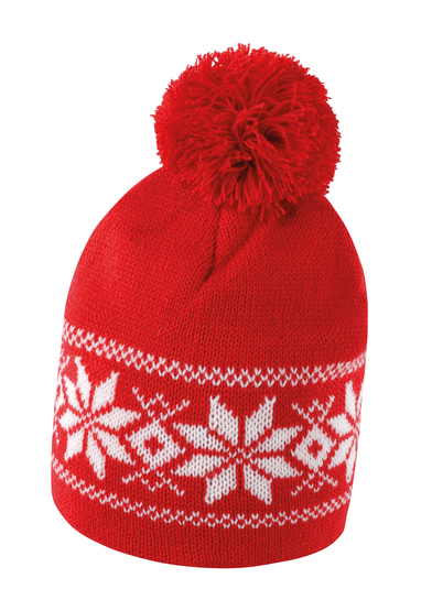 Fair Isle Knitted Hat In Red/White