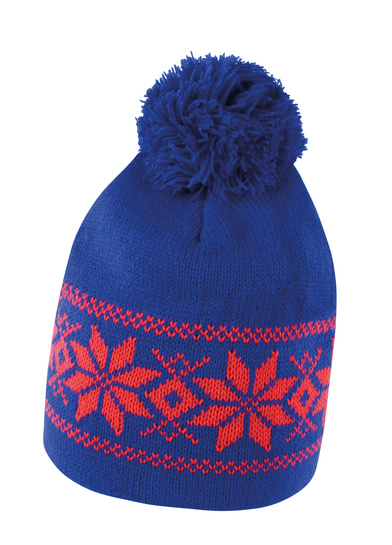 Fair Isle Knitted Hat In Royal/Red
