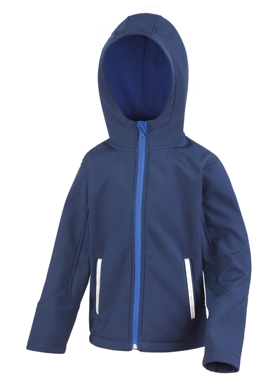 Core Junior TX Performance Hooded Softshell Jacket In Navy/Royal