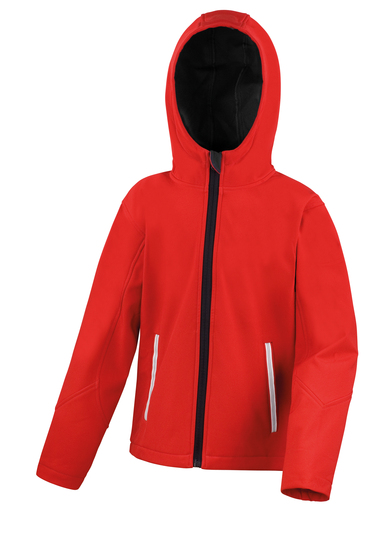 Core Junior TX Performance Hooded Softshell Jacket In Red/Black