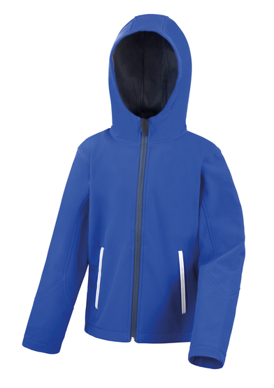 Core Junior TX Performance Hooded Softshell Jacket In Royal/Navy