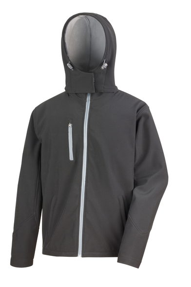 Core TX Performance Hooded Softshell Jacket In Black/Grey