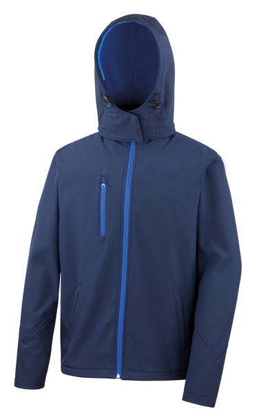 Core TX Performance Hooded Softshell Jacket In Navy/Royal