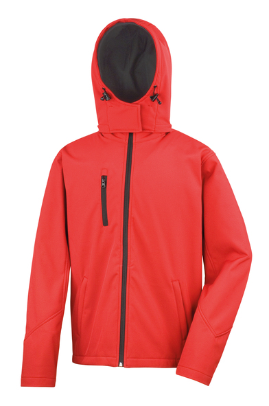 Core TX Performance Hooded Softshell Jacket In Red/Black