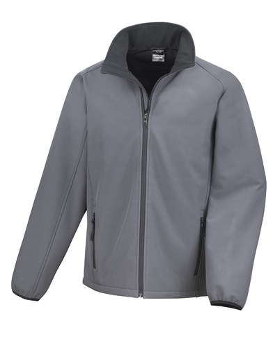 Core Printable Softshell Jacket In Charcoal/Black