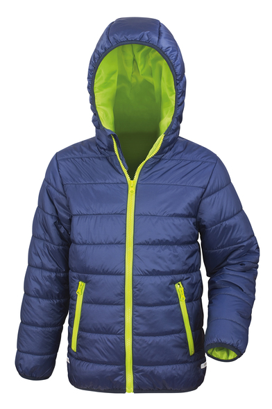 Core Junior Soft Padded Jacket In Navy/Lime