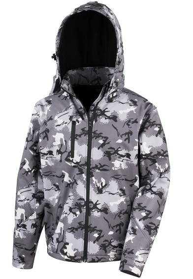 Camo TX Performance Hooded Softshell Jacket In Camo Charcoal