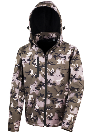 Camo TX Performance Hooded Softshell Jacket In Camo Green