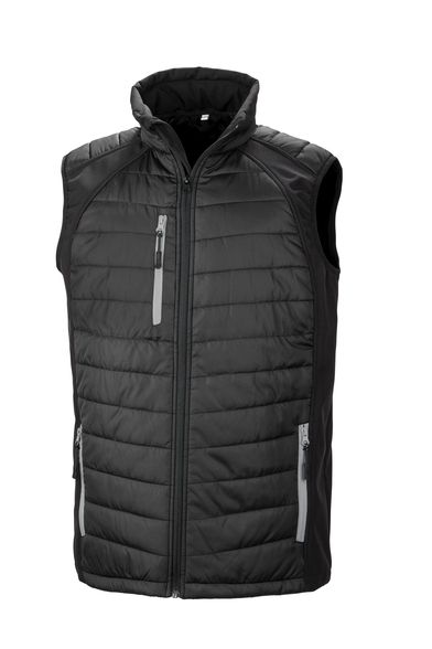 Black Compass Padded Softshell Gilet In Black/Grey