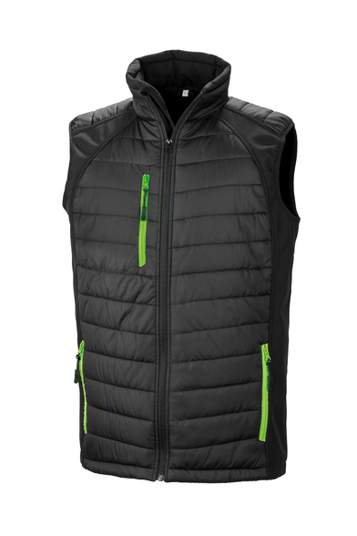 Black Compass Padded Softshell Gilet In Black/Lime