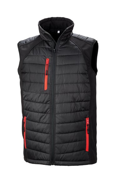 Black Compass Padded Softshell Gilet In Black/Red