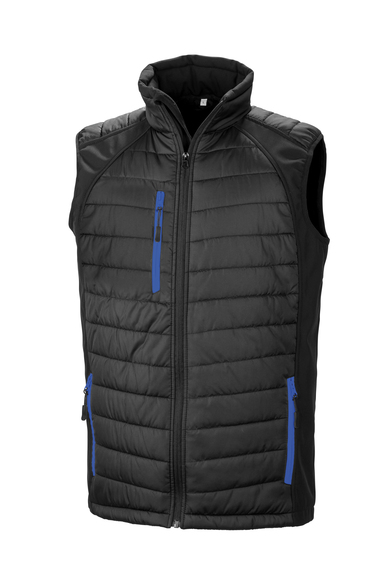 Black Compass Padded Softshell Gilet In Black/Royal