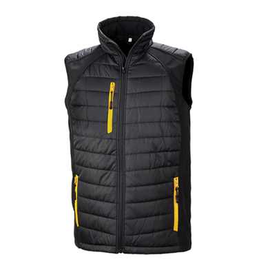 Black Compass Padded Softshell Gilet In Black/Yellow