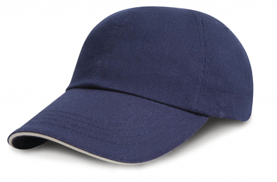 Junior Low-profile Heavy Brushed Cotton Cap With Sandwich Peak In Navy/White