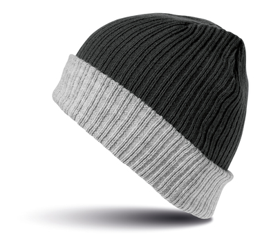Double-layer Knitted Hat In Black/Grey