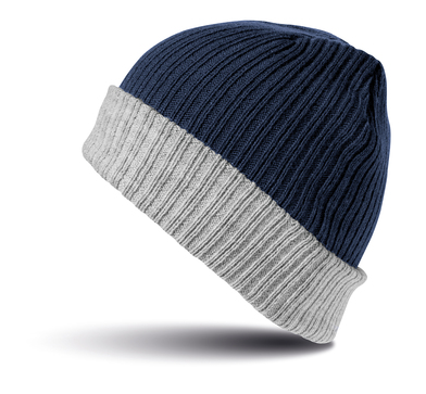 Double-layer Knitted Hat In Navy/Grey