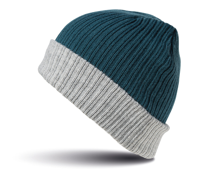 Double-layer Knitted Hat In Teal/Grey