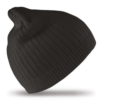 Cotton Knitted Beanie Hat In Black