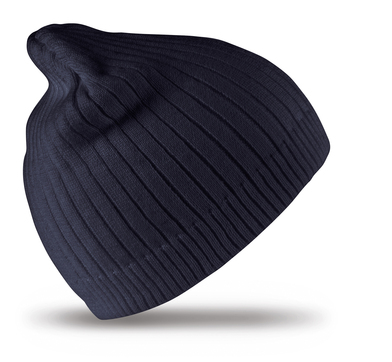 Cotton Knitted Beanie Hat In Navy