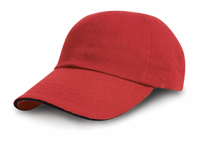 Heavy Cotton Drill Pro-style With Sandwich Peak In Red/Black