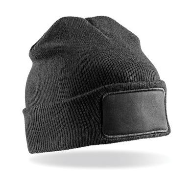 Double-knit Printers Beanie In Black