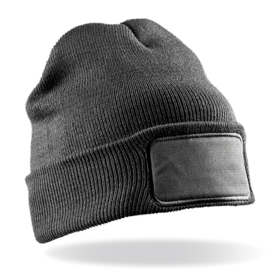 Double-knit Printers Beanie In Grey