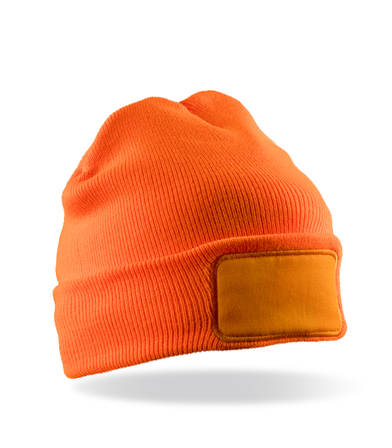 Double-knit Thinsulate Printers Beanie In Fluorescent Orange