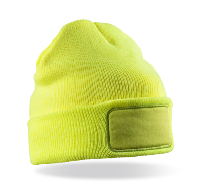 Double-knit Thinsulate Printers Beanie In Fluorescent Yellow