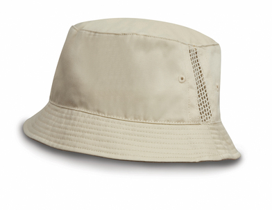 Deluxe Washed Cotton Bucket Hat With Side Mesh Panels In Natural