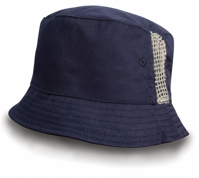 Result Headwear - Deluxe Washed Cotton Bucket Hat With Side Mesh Panels