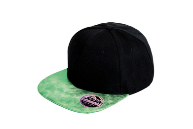 Bronx Glitter Flat Peak Snapback Cap In Black/Green