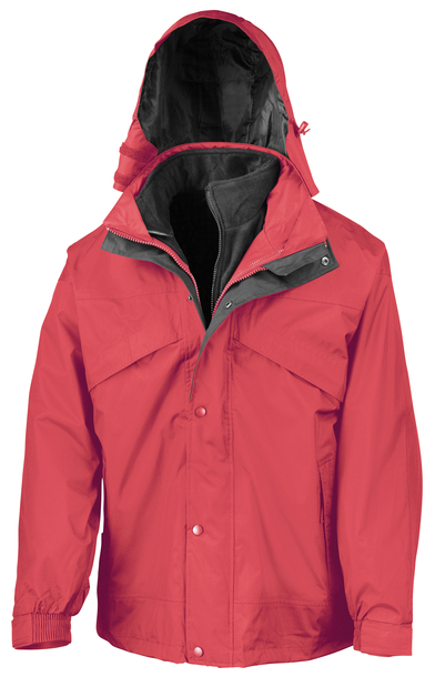 3-in-1 Zip And Clip Jacket In Red/Black