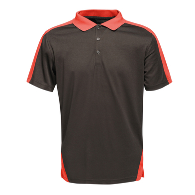 Contrast Wicking Polo In Black/Classic Red