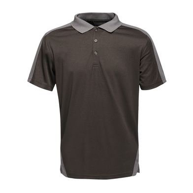 Contrast Wicking Polo In Black/Seal