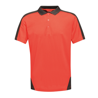 Contrast Wicking Polo In Classic Red/Black