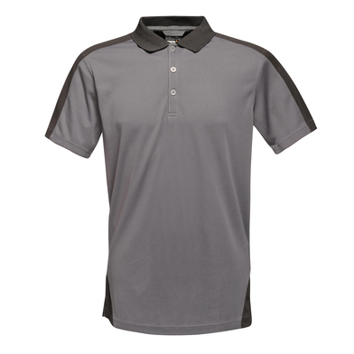Contrast Wicking Polo In Seal/Black
