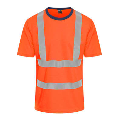 High Visibility T-shirt In HV Orange/ Navy