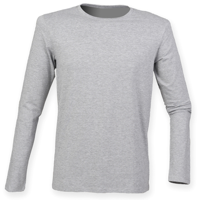 Feel Good Long Sleeved Stretch T-shirt In Heather Grey