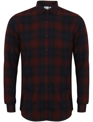 Brushed Check Casual Shirt With Button-down Collar In Burgundy Check