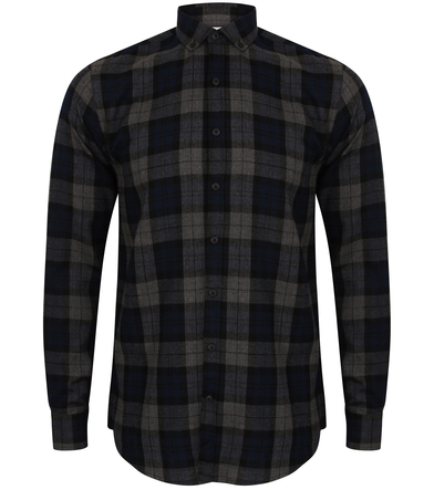 SF - Brushed Check Casual Shirt With Button-down Collar