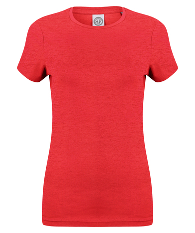 Feel Good Women's Stretch T-shirt In Heather Red