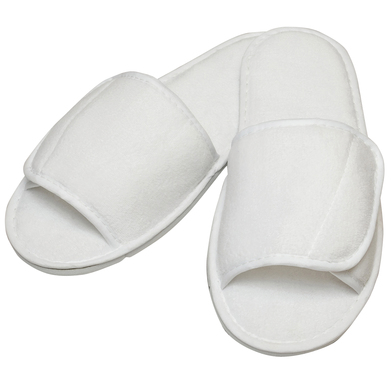 Towel City - Open-toe Slippers With Hook And Loop Strap