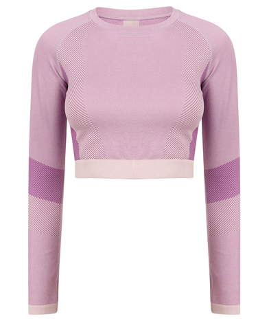 Tombo - Women's Seamless Panelled Long Sleeve Crop Top